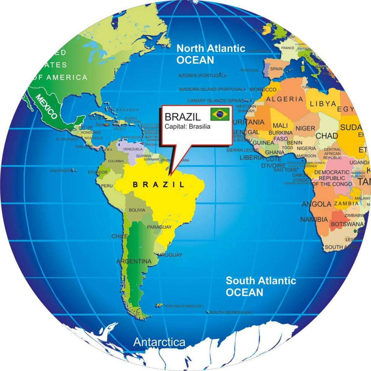 Mapa Sveta Z Brazilie Mapa Sveta S Brazilii Jizni Amerika